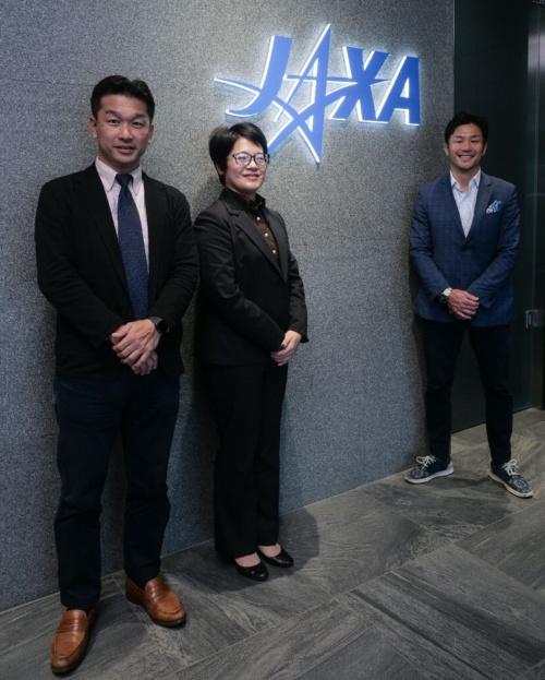 対談を終えて。左から神武氏、前田氏、廣瀬氏。場所は茨城県つくば市にある、JAXAの筑波宇宙センター