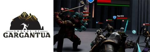 子会社のよむネコが制作しているVRタイトル『ソード・オブ・ガルガンチュア』。刀を使って多人数で戦う剣戟もの