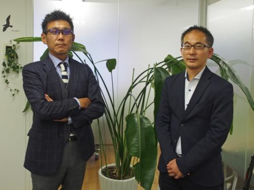 サイバーソリューションズの秋田健太郎社長(左)と戦略推進部の持木隆介部長に製品の動向を聞いた。