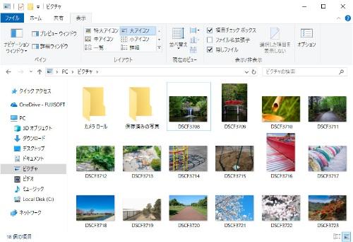 アップデート後のエクスプローラーでRAW画像形式のファイルを一覧表示した様子。サムネイル表示されるため、目的のファイルを簡単に見つけられる