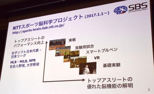 """NTTスポーツ脳科学プロジェクトが取り組む実験。""""実験""""のみならず、""""実践""""の場でもデータを収集し、スポーツ×脳の関係性をひもといている"""