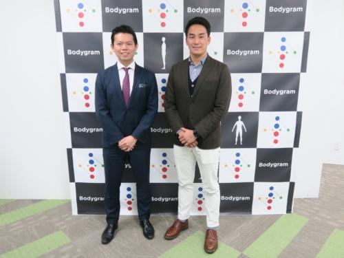 ボディグラム創業者でCEOのジン・コー氏(左)と、アンバサダーを務める競泳オリンピックメダリストの松田丈志氏(右)