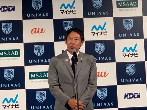 図1 発表会でパートナーシップ締結について祝辞を述べたスポーツ庁長官の鈴木大地氏