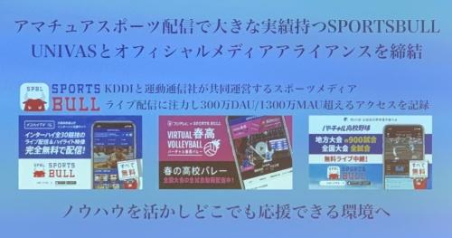 図2 KDDIが出資する運動通信社が運営するSPORTS BULLなどで大学スポーツの映像を配信する