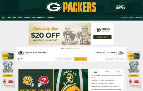 NFLのグリーンベイ・パッカーズのWebページ