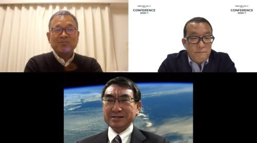 Jリーグチェアマンの村井満氏(画像左上)、モデレーターを務めたSports X Initiativeの橋口寛氏(画像右上)、国務大臣 衆議院議員の河野太郎氏(画像下)