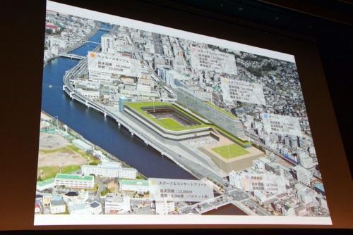 V・ファーレン長崎の新スタジアムのイメージ図。約7ヘクタールの土地にスタジアムやアリーナ、ホテル、ショッピングモール、オフィス、マンションなどが立ち並ぶ複合型スタジアムとなっている。構想段階のため、今後デザインを含め変更になる可能性もある(図:ジャパネットホールディングス)