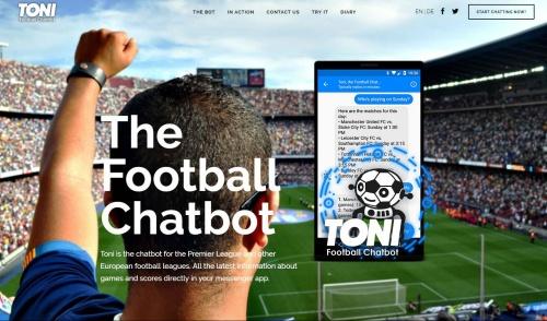 英国のプレミアリーグやドイツのブンデスリーガ、スペインのラ・リーガなどにチャットボットのサービスを展開しているオーストリアのトニのホームページ