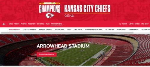 NFLのカンザスシティ・チーフスの本拠地アローヘッド・スタジアム。チーフスのホームページより