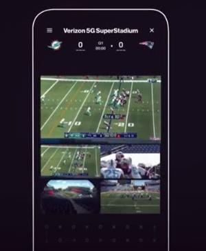 ベライゾンがiPhone 12向けに提供したNFLモバイルアプリ「Verizon 5G SuperStadium」。5つのカメラアングルから好きに選んで視聴できる