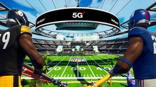 オンラインゲームイベント「Fortnite Creative: a virtual Verizon 5G Stadium」でバーチャル空間に作成されたスタジアム
