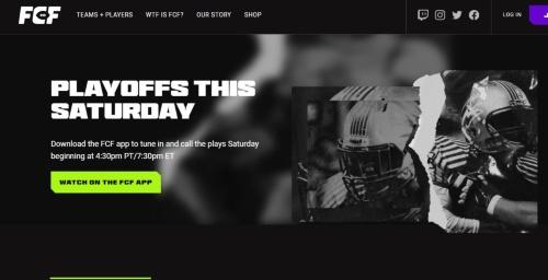 21年2月に最初のシーズンが始まった、「Fan Controlled Football」(FCF)のWebページ
