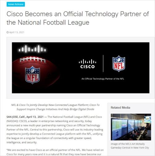 NFLと複数年のリーグスポンサー契約を結んだことを発表するシスコシステムズのプレスリリース