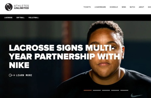 AUのWebページ。21年にバレーボールとラクロスが加わった。