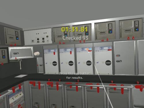 VRによるギャレー(厨房)の確認訓練コンテンツ。出発前や着陸前の限られた時間内に、ギャレー内の扉などにロックをかけていく