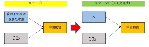 CO<sub>2</sub>の原料化に関する段階的実現のイメージ