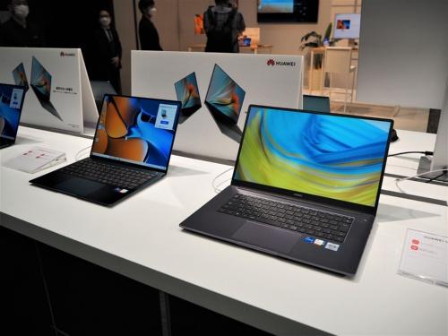 2021年7月13日にファーウェイ・ジャパンが発表した国内向けの新製品は「HUAWEI MateBook X」などノートパソコンやタブレットが中心で、スマートフォンの姿はなかった。写真は同日に実施されたファーウェイ・ジャパン新製品タッチ&トライイベントより(筆者撮影)