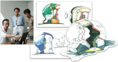 左上の写真は「O.R.B.S」の開発者たち。イラストはいずれもO.R.B.Sの開発途中のイメージ図である。