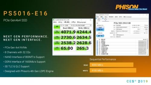 2019年1月の家電展示会「CES 2019」で台湾ファイソン(PHISON)が展示したPCI Express Gen4対応SSDコントローラー「PS5016-E16」