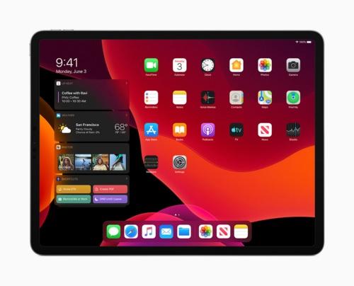 2019年秋に登場予定の「iPadOS」では、ウィジェット画面をスライド操作でホーム画面に表示し、同時に確認できるようになる。また「ダークモード」などiPhone用の「iOS 13」の新機能も同様にサポートされる。