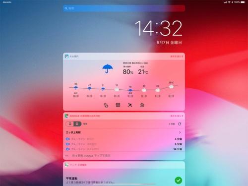 iOS 12のウィジェットは独立した1画面になっており、それまでの作業や思考の流れを分断してしまう。また横向きでは特に、左右に無駄な空間がありiPadの大画面が生かされていない
