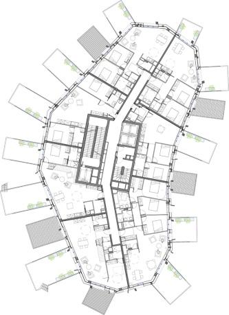 地上9階平面図(資料:Sou Fujimoto Architects)