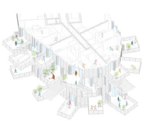 アクソメ図(資料:Sou Fujimoto Architects)