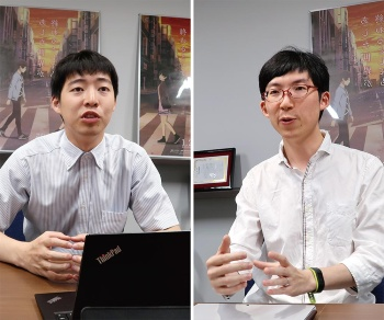 GPUを使う数値計算ライブラリー「CuPy」開発者の奥田遼介氏(左)とChainer開発者の得居誠也氏(右)