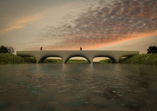 オランダ・ナイメーヘン市に架設予定のコンクリート3Dプリンター橋のイメージ。桁の側面や橋脚との接合部が丸みを帯びたデザインとなる予定だ(資料:Michiel van der Kley/Pim Feijen)