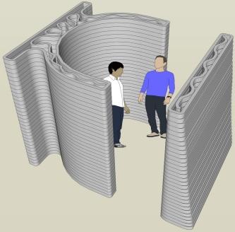 喫煙所の完成イメージ。断面形状はイニシャルの「ICI」をイメージした(資料:前田建設工業)
