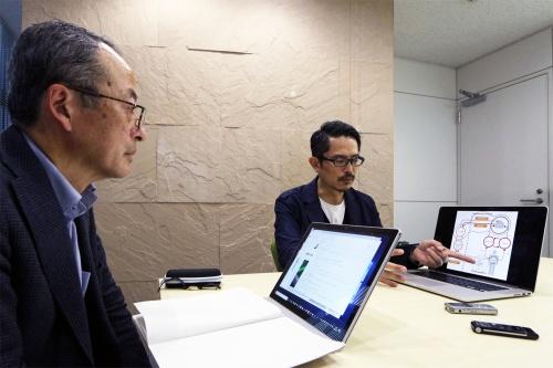 京都大学大学院情報学研究科教授の西田豊明氏(左)と、noizパートナー、gluon共同主宰の豊田啓介氏(右)。両氏のプロフィルは最終ページを参照(写真:日経 xTECH)