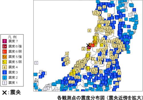 2019年6月18日午後10時22分ごろに発生した山形県沖の地震の震度分布図。新潟県村上市で震度6強、山形県鶴岡市で震度6弱を観測した(資料:気象庁)