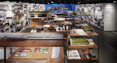 2018年10月18日~12月23日にTOTOギャラリー・間で開催した田根氏の個展「田根 剛 | 未来の記憶 Archaeology of the Future ― Search & Research」の会場風景(写真:ナカサアンドパートナーズ)