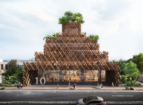 京都市内に計画している食やアートギャラリーを併設する施設「10 kyoto」の完成予想パース。解体される京町家の廃材を集成材に加工して外壁に用いる(資料:Atelier Tsuyoshi Tane Architects)