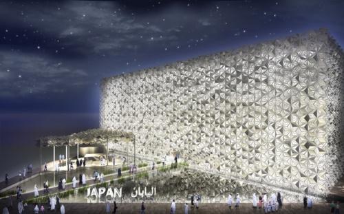 2020年10月に開幕するドバイ万博の日本館。「水と風」「光と影」「幾何学模様と日本の伝統文様」がコンセプト。NTTファシリティーズと共同で設計する(資料:日本館広報事務局)