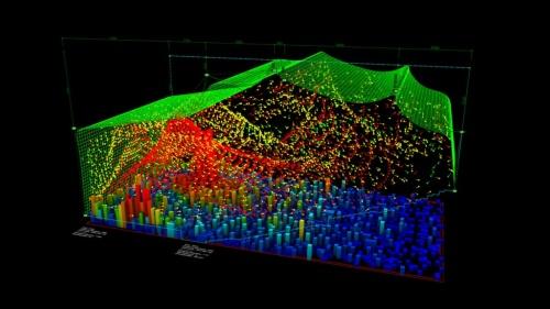 釜石市民ホールでは、舞台から発生した音がどのように反響するかを、竹中氏が作成した音響最適化プログラムを用いてシミュレーションした。赤い部分に反響音が集中するため、全体に青くなるような形状を求めた(資料:アンズスタジオ)