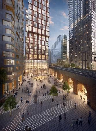 バンクサイドヤードの完成イメージ。鉄道橋の脇に、地下のカルチャーセンターへと続く広場を設ける(資料:PLP Architecture)