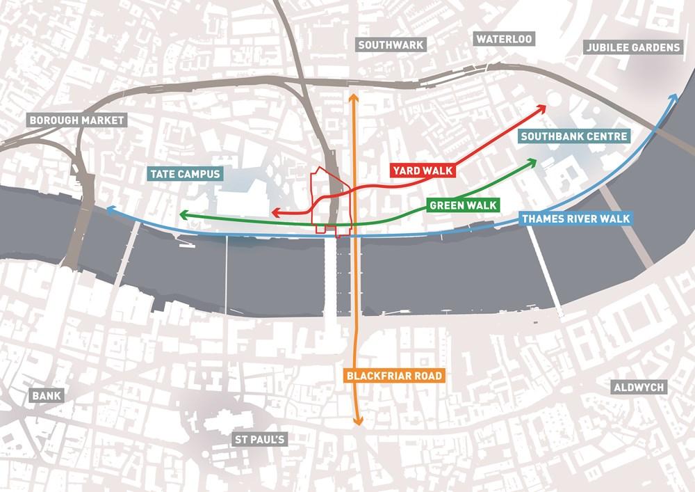 地図の中央に赤線で囲った部分が、バンクサイドヤードの対象地。東にサウスバンクセンター、西にテートキャンパスがあり、ロンドンを代表するカルチャースペースに囲まれた立地だ(資料:PLP Architecture)