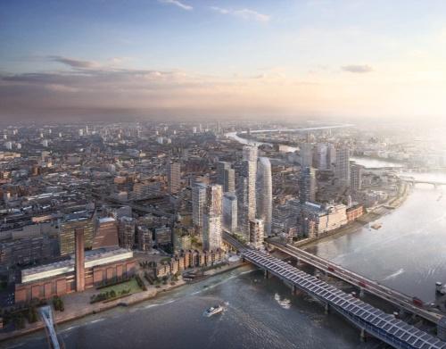 ロンドンで進行中の再開発プロジェクト「Bankside Yards(バンクサイドヤード)」の遠景イメージ。パースの中央で高層ビルが立ち並ぶ一画が、対象地。周辺の建物に調和するよう、敷地の内から外に向かって建物の高さが徐々に低くなるように計画している(資料:PLP Architecture)