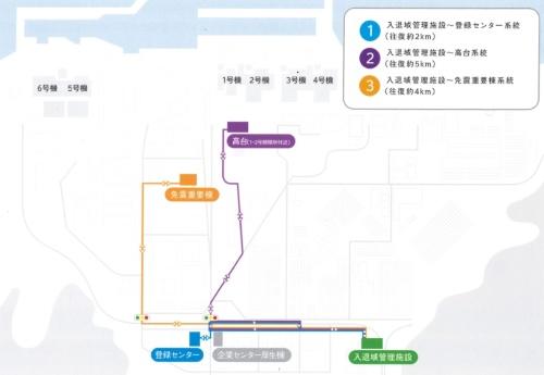 自動運転バスはまかぜeの運行ルート。作業員の出入り口にあたる「入退域管理施設」と各所を結ぶ3系統を設定