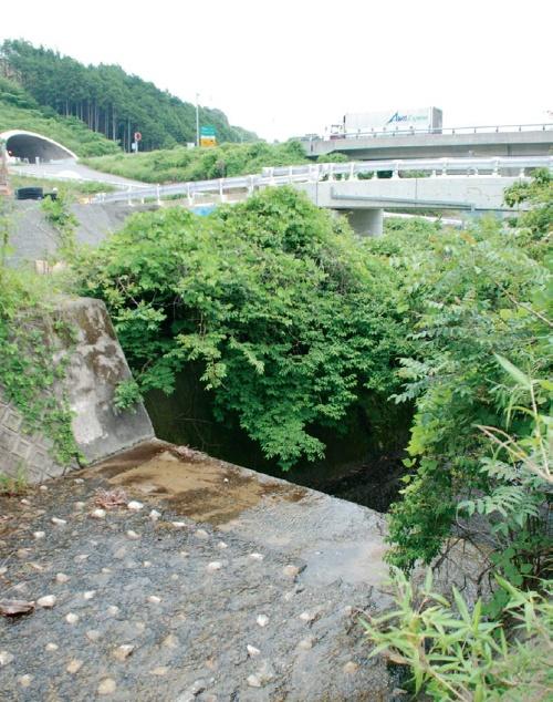 中日本高速道路会社は、東名阪自動車道や伊勢湾岸自動車道などが結節する四日市ジャンクション(JCT)から分岐して亀山西JCTにつながる新名神高速道路の建設を進めている。写真奥に見える高速道路は、既に開通している新名神高速道路亀山連絡路。安坂山高架橋はこの道路をまたぐように架かる予定。辺り一面は砂防指定地に指定されている(写真:日経コンストラクション)