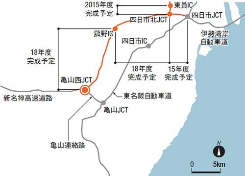 建設中の新名神高速道路とトラブルが発生した現場の位置(資料:日経コンストラクション)