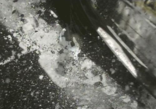 動画 タッチダウンの様子を捉えたサンプラーホーン撮影用小型モニターカメラ「CAM-H」の画像のコマ送り(10倍速)