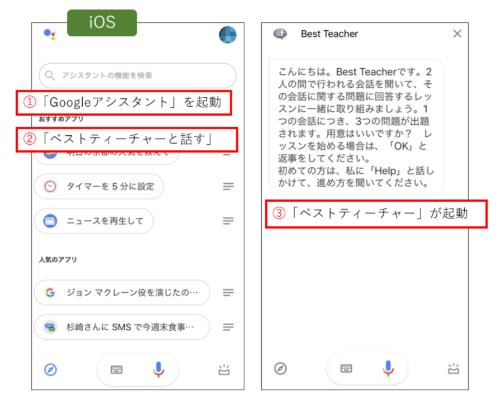 iOSでGoogle Homeアプリを利用するには、「Googleアシスタント」アプリをインストールする。アプリを起動した状態で「ベストティーチャーと話す」のように話しかける