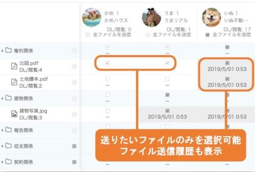 リマールエステートが提供する不動産売買支援クラウドサービス「Kimar(キマール)」の画面イメージ。紹介先や送りたい資料を選択して一括で送信できる。過去の送信履歴も表示する(資料:リマールエステート)