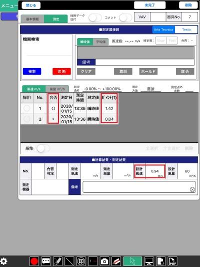 SPIDERPLUSの記録画面。赤枠で囲った部分のうち、下の「設計風速」に対し、測定値が上回っていれば合格(〇)、下回れば不合格(×)になる。2回目の測定は意図的に風速を弱めて、不合格になる場面を再現してもらったもの(資料:長谷工コーポレーション)