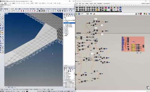 コンピュテーショナルデザインの実践例。建物の屋根をシミュレーションで検証しているところ(資料:日本設計)