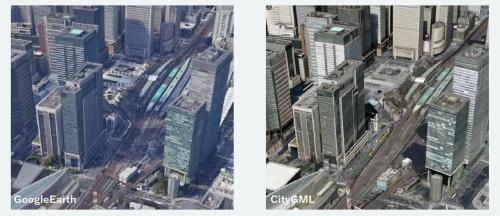 米グーグルの地図サービス「Google Earth(グーグルアース)」(左)と、国土交通省が20年12月にプロトタイプを公開した3D都市モデルのプラットフォーム「PLATEAU(プラトー)」の画面を見比べてみよう(資料:国土交通省、Google Earthは米グーグルが提供しているサービス)
