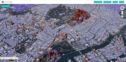 千代田区と中央区、港区、新宿区、文京区にある建物の高さで、地図を色分けして表示した例。専用のビューワー「PLATEAU VIEW」で操作・閲覧できる。PLATEAU VIEWの実装では、UI(ユーザーインターフェース)のデザインなどのアートディレクションに、建築やデジタルに詳しいパノラマティクスの齋藤精一氏らが参画している(資料:国土交通省、PLATEAU VIEWの画面)