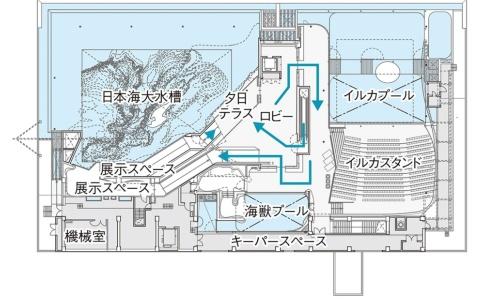 うみがたり大水槽(日本海大水槽)が施設の大きなスペースを占めている。水表面の長さは約35m×約25m(資料:日本設計)